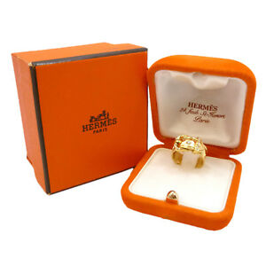 Image Is Loading Authentic Hermes Wide Buckle Band Ring 18k Yellow