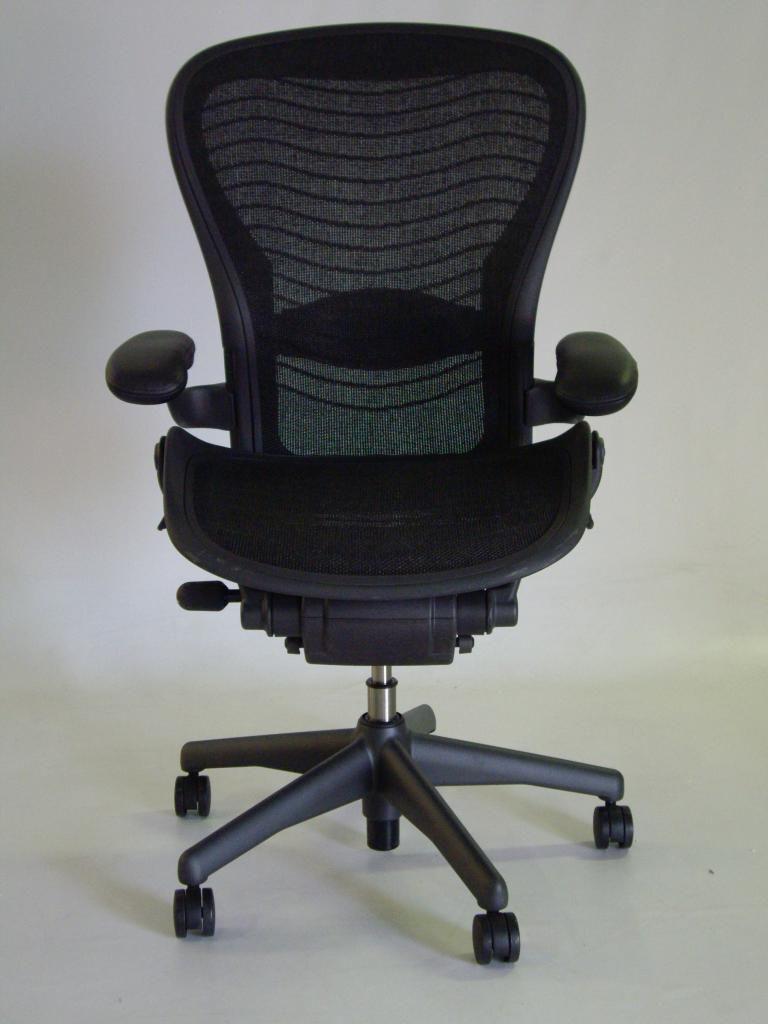 Herman Miller Aeron Chair Size C Leather Arm Rests Carbon Color Pellicle  Waves