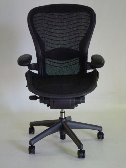 Herman Miller Aeron Chair Size C Leather Arm Rests Carbon Color