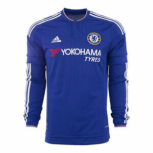 size 40 b72c9 974af Details about ADIDAS CHELSEA FC LONG SLEEVE HOME JERSEY 2015/16