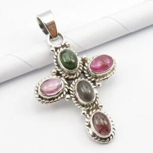 925-Fine-Silver-Green-Pink-Tourmaline-Pendant-1-4-034-SilverStarJewel-Jewelry