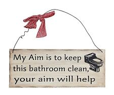 "Bathroom Aim Wood Decorative Plaque 10""x 4"" Wall Decor Sign"