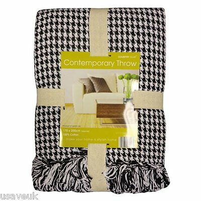 Classic Check Black & White Houndstooth Sofa Throw Bed Blanket 127cm x 152cm