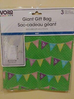 NIP JUMBO Gift Bag New Baby Pennant Shower Green Wrapping Basket Bag 36 x 44