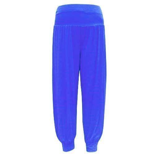 Ladies Donna Lunghezza completa Alibaba Hareem Pantaloni Pantalone Tinta Unita Pantaloni Stampati