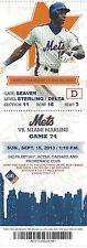 Darryl Strawberry 7x All-Star Mets vs. Marlins Citi Stub Sept 15 2013 Game 74