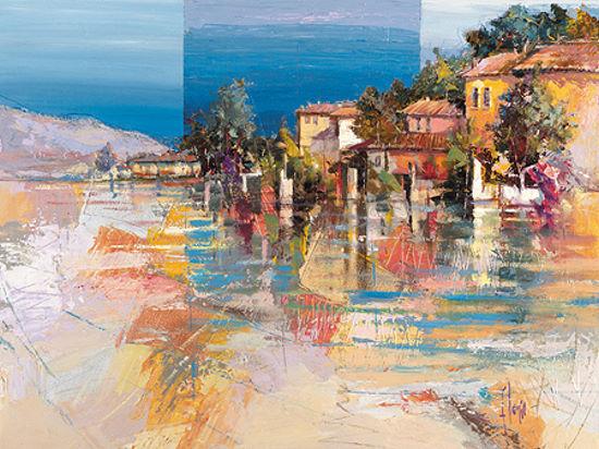 Luigi Florio  Paese sul Lago Keilrahmen-Bild Leinwand Italien Küste Städte