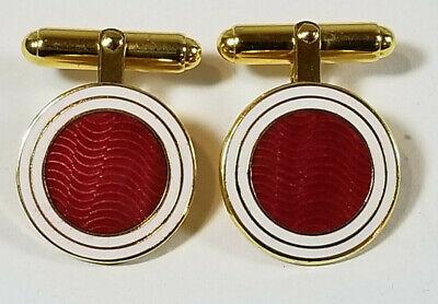 Heraldic Vintage Cufflinks Red Guilloche Enamel Lion Rampant Cuff Links