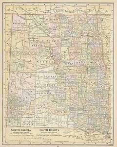 1900 ANTIQUE NORTH SOUTH DAKOTA color map original authentic | eBay