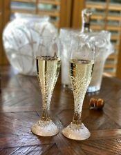 2 Lalique Crystal Millennium Toasting Champagne Flutes - Originally $1000/pair