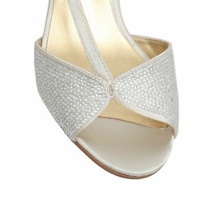 NINE-WEST-BONE-SATIN-GELSEA2-EVENING-OCCASION-PEEP-TOE-SHOES-UK-7-US-9