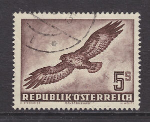 Austria-Sc-C58-used-1953-5s-red-brown-Buzzard-VF-Birds