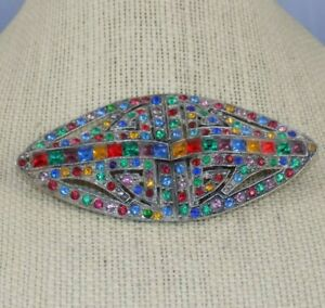 3-1-4-034-Czech-Antique-Art-Deco-Pot-Metal-Rhinestone-Brooch-Red-Blue-Green-Gold