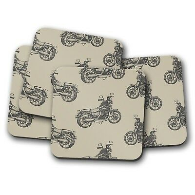 Bike Biker Dad Son Motorbike Gift #8449 Motorcycle Cork Backed Drinks Coaster