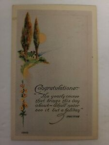 "Vintage Postcard - Greeting Card ""CONGRATULATIONS"" Early 1900s - Unposted - J-67"