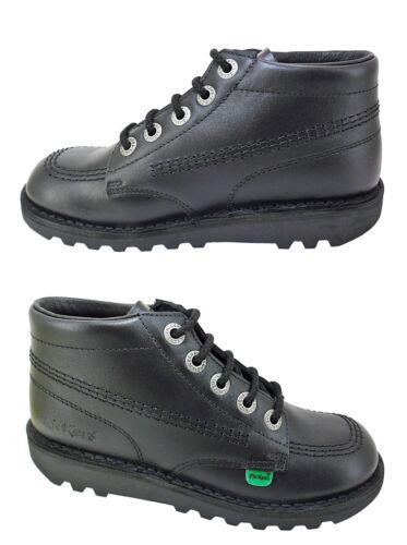 KICKERS Kick Hi Black Leather Boots Patent New Boys Girls Ankle Sale Size 12.5-6