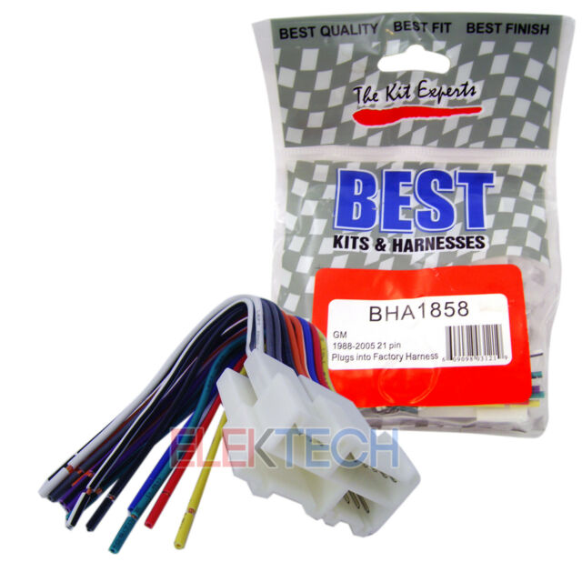 radio wiring harness for aftermarket radio stereo installation best  bha1858 aftermarket radio replacement 21 pin harness for pontiac oldsmobile