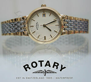 STYLISH-ROTARY-WATCH-TWO-TONE-GOLD-PLATED-SELF-ADJUST-BRACELET-Ladies-Great-Gift