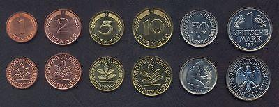 GERMANY WEST GFR COIN SET 1+2+5+10+50 Pfennig 1 Mark DM UNC GERMAN FEDERAL LOT
