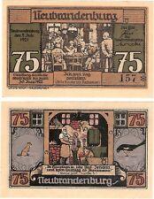 Germany 75 Pfennig 1921 Notgeld Neubrandenburg UNC Uncirculated Banknote