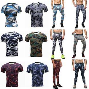 Men-Leggings-Jogging-Fitness-Sport-Stretch-Tops-Pants-Compression-Gym-Set-Wear