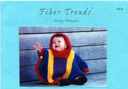Instructions to knit 6mo-4yr Fiber Trends Knitting Pattern CH-10 Baby Poncho