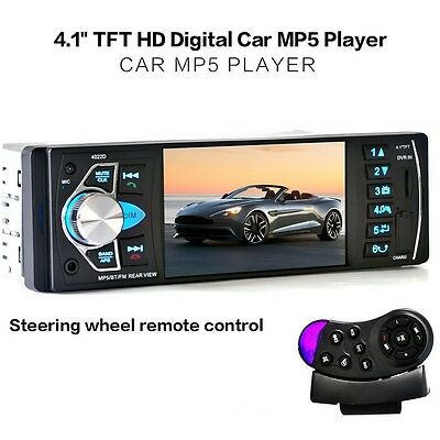 "4.1"" Car MP5 Radio Player TFT Screen Stereo Audio FM Station w/ Remote In-Dash"
