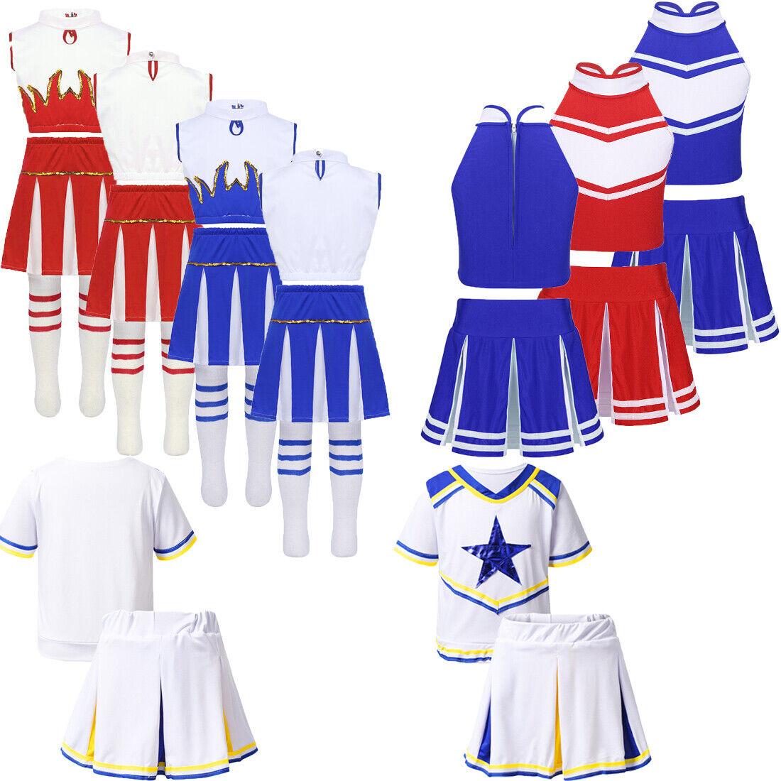 Girls Cheerleader Uniform Costume Dress Kids Tops+Skirt+Sock School Show Party