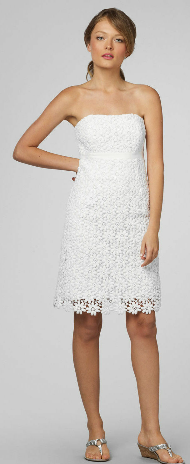 328 328 328 Sz 8 Lilly Pulitzer Bowen Classic White Floral Lace Strapless Women's Dress 5507d3