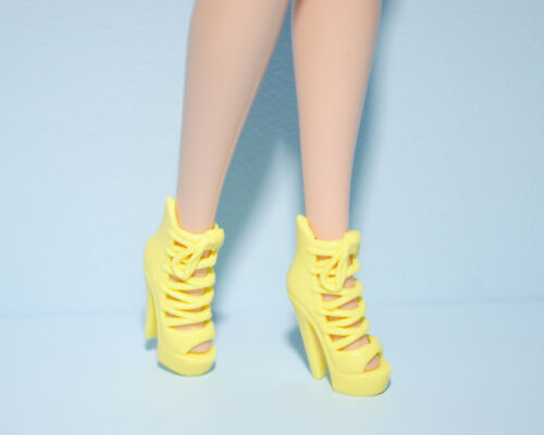 DELECTABLE Strappy Yellow Platform Stiletto High Heels Shoes Genuine BARBIE