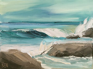SLIGHTLY-CLOUDY-THREE-Original-Expression-Seascape-Oil-Painting-9x12-112118-KEN
