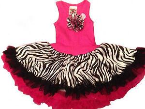 Fun-Hot-Pink-Zebra-Chiffon-Sleeveless-Tutu-Dress-6M-5-6-USA-Cupcakes-amp-Kisses