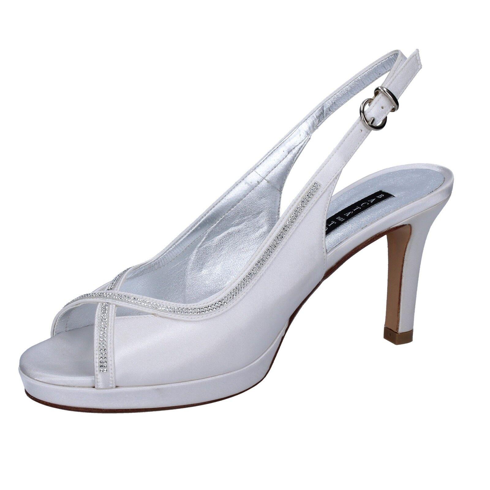 Womens shoes Bacta de Toi 38 EU Sandals White Diamante Satin bt844-38