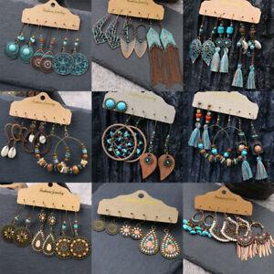 Boho-Gypsy-Tribal-Ethnic-Earrings-Set-Drop-Dangle-Festival-Women-Party-Jewellery