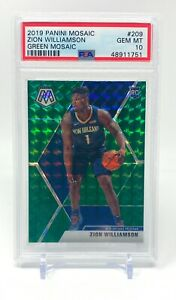 Zion-Williamson-2019-20-Panini-Mosaic-Green-Prizm-Rookie-PSA-10-209-Pelicans