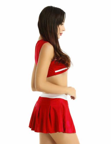 Women Cheerleader Costume Uniform Outfit Fancy Dress Crop Top Mini Pleated Skirt