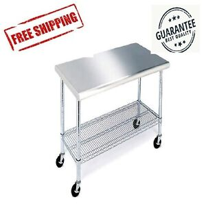 Details about Rolling Stainless Steel Top Kitchen Work Table Cart + Casters  Shelving - 24\