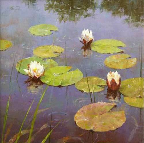 CHOP1025 Lotus Leaves and Lotus Flowers hand paint oil painting art on canvas