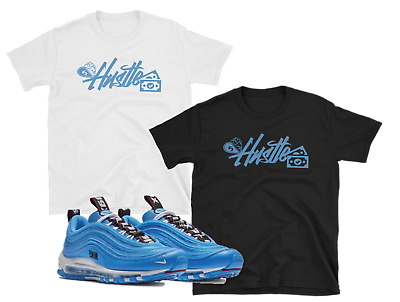 Nike Air Max 97 Premium Blue Hero Black White Hustle Shirts Ebay