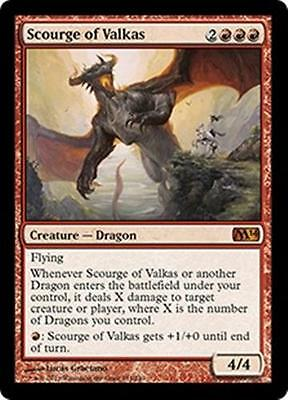 SCOURGE OF VALKAS M14 Magic 2014 MTG Red Creature—Dragon MYTHIC RARE