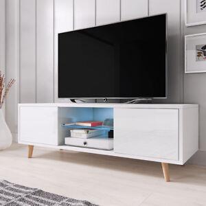 Rivano-Meuble-TV-LED-bleue-140-cm-Blanc-Noir-Gris-Effet-Chene-design-salon-banc