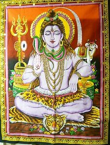 "HINDU GOD SHIVA ""TRIMURTI-THE DESTROYER"" SEQUINS WALLHANGING/TAPESTRY 1BL/3 RED"