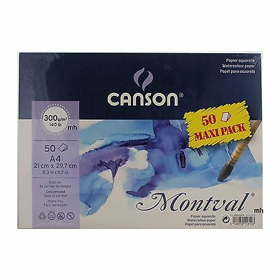Canson Montval A4 50 Sheets 300gsm Cold Press Watercolour paper Pack artist