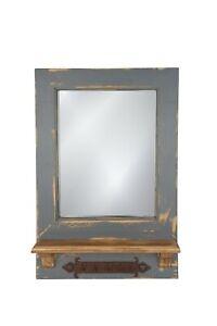 Dos Santos Mirror-Key Holder-Farmhouse-Primitive-16x24 in-Rustic-Wood-Wall-Gray