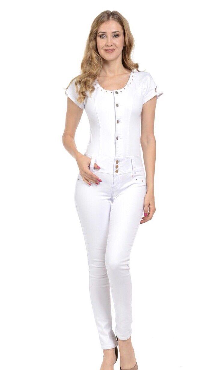 Mitzi Michel Women's White Full Body Jumper Skinny Jeans Rhinestone Sz Large