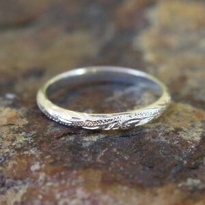 Hawaiian Jewelry 925 Sterling Silver Scrolling Love Wedding Ring
