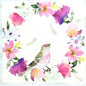 Birds-fabric-panel-quilting-square-cotton-bird-floral-white-pink-blue