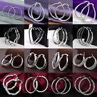 Solid 925 Sterling Silver Plated Round Hoop Drop Dangle Sleepers Earrings Gift H