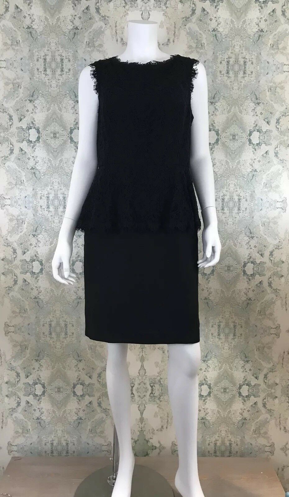 NWT Anthropologie Maeve schwarz Lace Peplum Vintage Inspirot Party Dress 12
