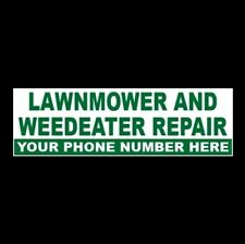 Customized Lawnmower And Weedeater Repair Business Sticker Sign Riding Push